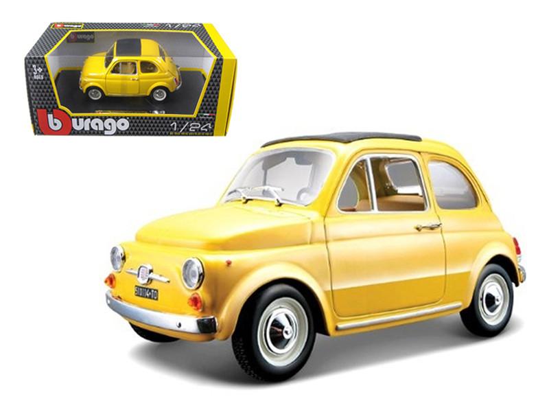 1965 Fiat 500 F Yellow 1/24 Diecast Model Car Bburago 22098