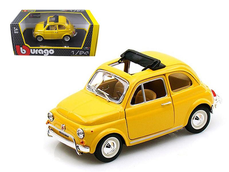 1968 Fiat 500 L Yellow 1/24 Diecast Car Model by BBurago