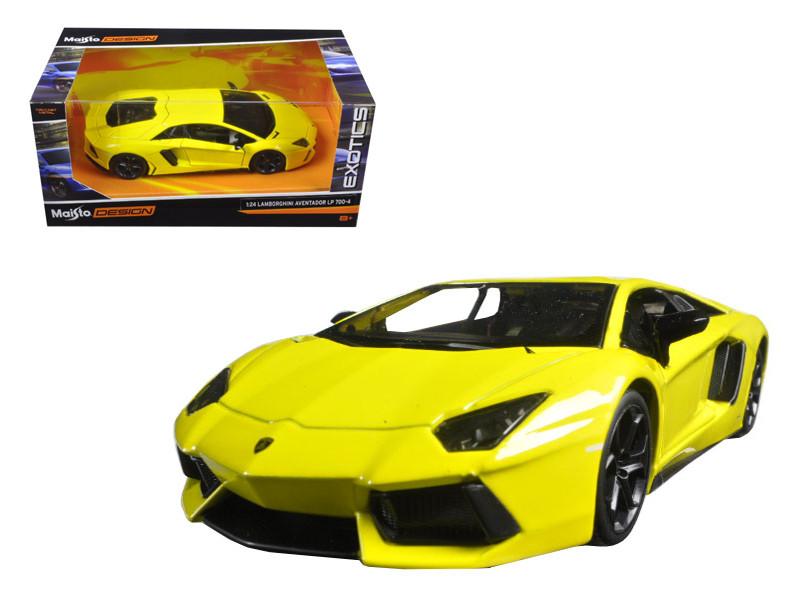"Lamborghini Aventador LP 700-4 Yellow \Exotics\"" 1/24 Diecast Model Car by Maisto"""""""