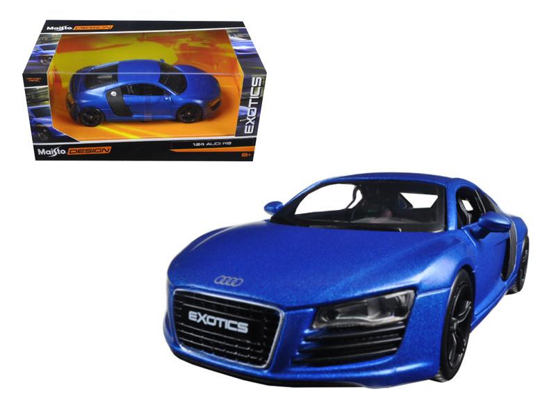 "Audi R8 Satin Metallic Blue ""Exotics"" 1/24 Diecast Model Car Maisto 32504"