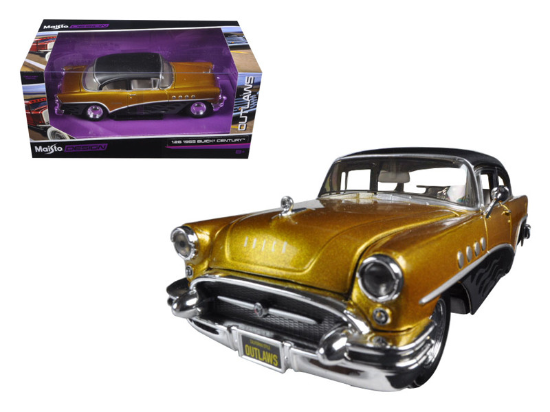 "1955 Buick Century Gold/Black ""Outlaws"" 1/26 Diecast Model Car Maisto 32507"