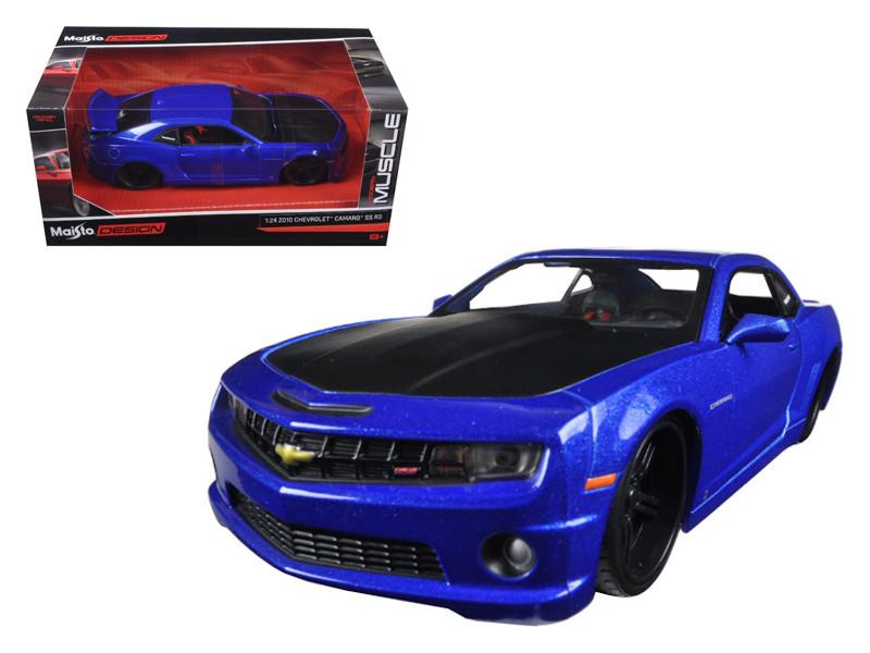 "2010 Chevrolet Camaro SS RS Metallic Blue with Matt Black Hood ""Modern Muscle"" 1/24 Diecast Model Car Maisto 31359"
