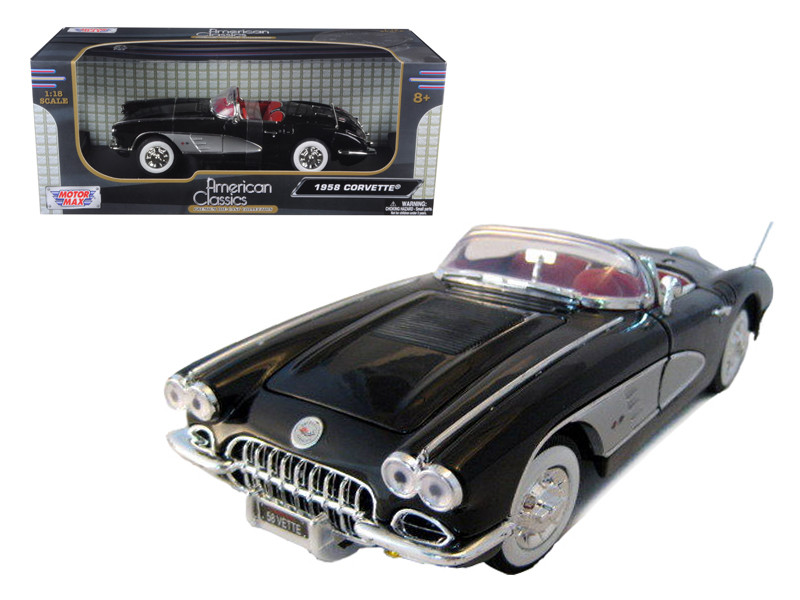 1958 Chevrolet Corvette Convertible Black 1/18 Diecast