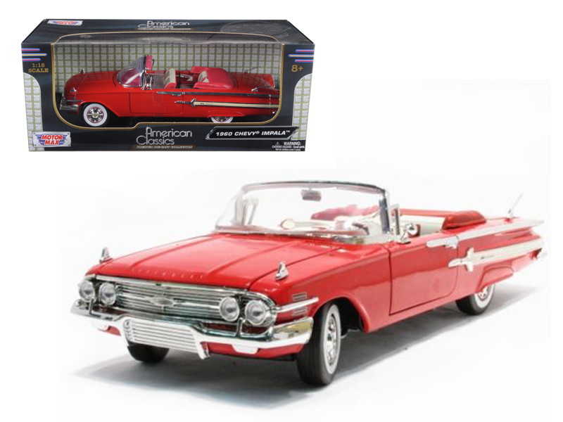1960 Chevrolet Impala Convertible Red 1/18 Diecast Model Car by Motormax