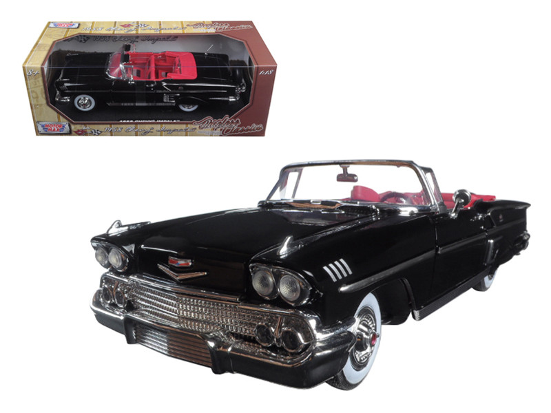"1958 Chevrolet Impala Black ""Timeless Classics"" 1/18 Diecast Model Car Motormax 73112"
