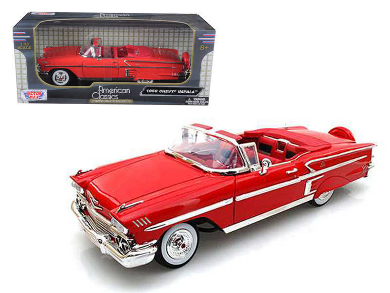 1958 Chevrolet Impala Red 1/18 Diecast Car Model Motormax 73112