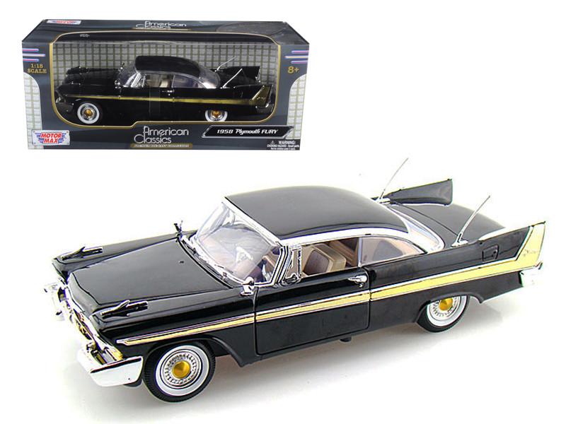 1958 Plymouth Fury Black 1/18 Diecast Model Car by Motormax