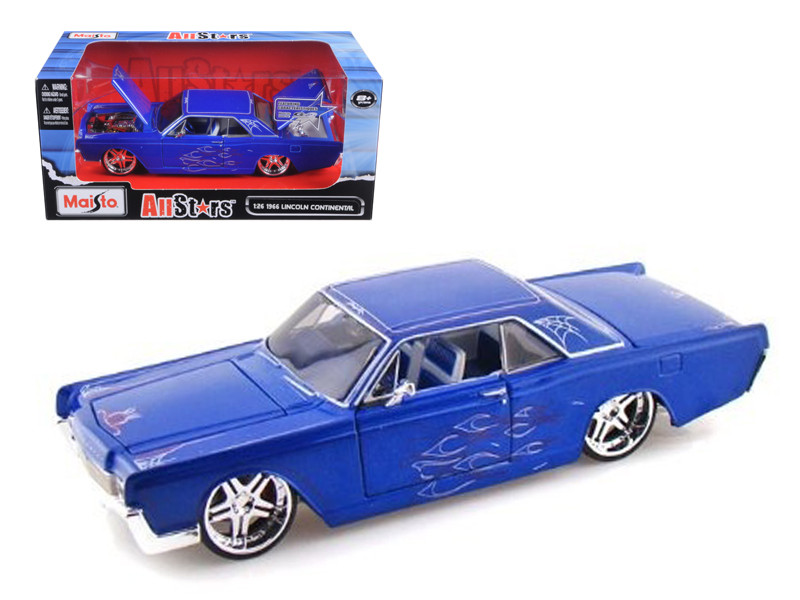 "1966 Lincoln Continental Blue \Pro Rodz"" 1/26 Diecast Model Car by Maisto"""""""