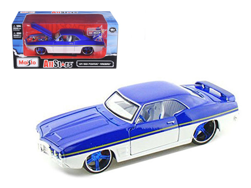 "1969 Pontiac Firebird Blue / White \All Stars\"" 1/24 Diecast Model Car by Maisto"""""""