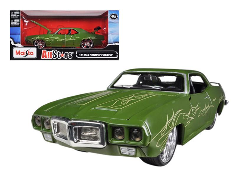"""1969 Pontiac Firebird Matt Green \All Stars\"""" 1/24 Diecast Model Car by Maisto"""""""""""""""
