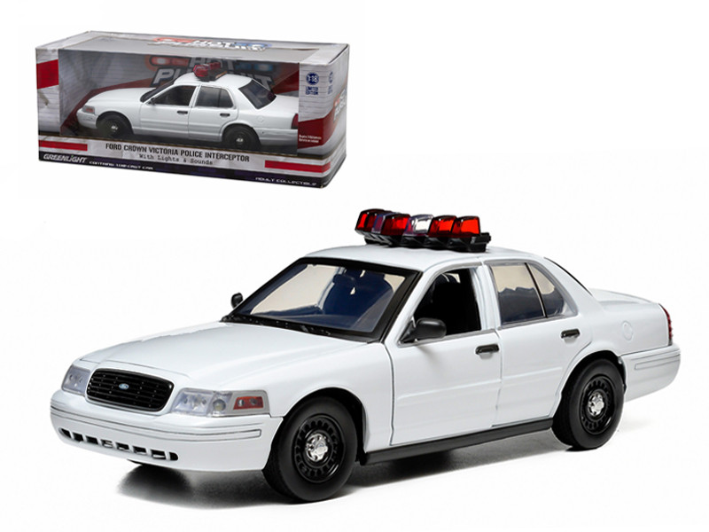 Ford Crown Victoria Unmarked Plain White Police Car Interceptor With Lights and Sounds 1/18 Diecast Model Car Greenlight 12921