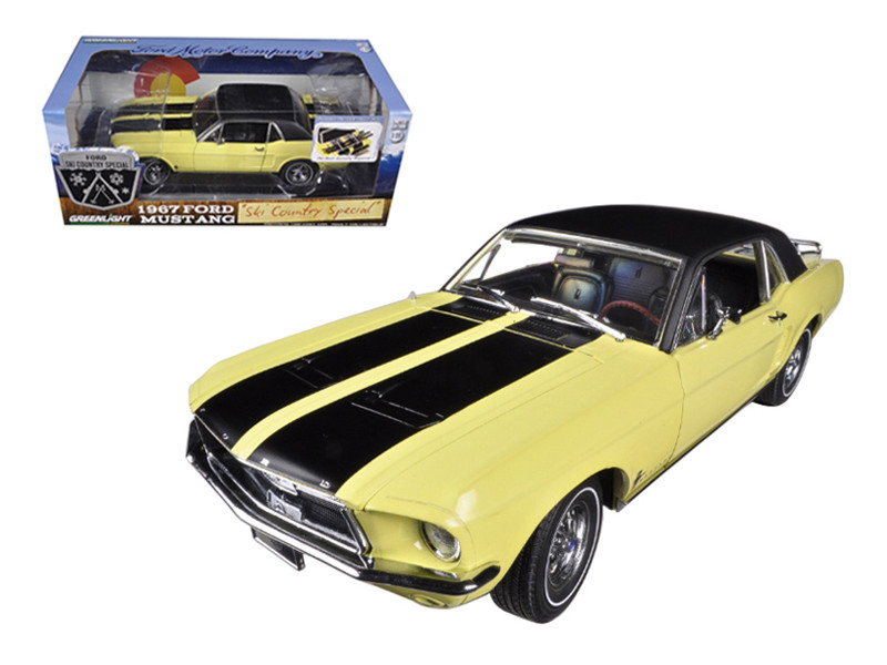 """1967 Ford Mustang Coupe \Ski Country Special\"""" Breckenridge Yellow with Black Stripes and Black Vinyl Roof and a Pair of Skies 1/18 by Greenlight"""""""""""""""