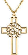 Custom Monogram Cross Necklace in Gold