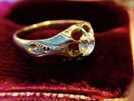 Antique Victorian Mine Cut Diamond Ring 18kt Gold