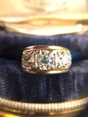 3 Diamond European Cut Antique Ring