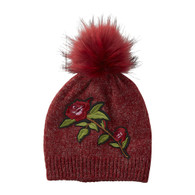 Red Rose Beanie with Faux Fur Pom