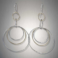 Mixed Metal Triple Hoop Dangles by Peter James