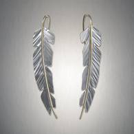 Mixed Metal Feather Earrings by Peter James