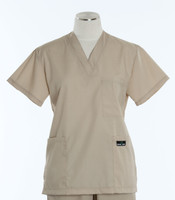 Scrub Med Womens Solid V-Poc Scrub Top Putty (ScrubLite)