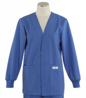 Scrub Med Womens Solid V-Neck Lab Jacket Bimini Blue