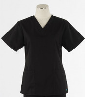 Maevn Womens Fit 2 Pocket V Neck Scrub Top Black