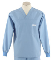 Scrub Med Mens Solid V-Neck Long Sleeve Scrub Top Celestial Blue