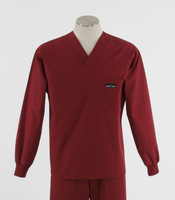 Scrub Med Mens Solid V-Neck Long Sleeve Scrub Top Currant