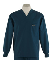 Scrub Med Mens Solid V-Neck Long Sleeve Scrub Top Spruce