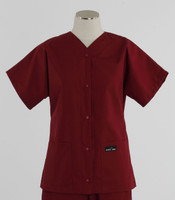 Scrub Med Womens Solid Baseball Scrub Top Currant
