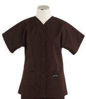 Scrub Med Womens Solid Baseball Scrub Top Dark Chocolate