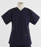 Scrub Med Womens Solid Baseball Scrub Top Navy