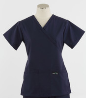 Scrub Med Womens Demi Wrap Scrub Top Solid Navy