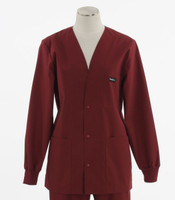 Scrub Med Womens Solid V-Neck Lab Jacket Currant