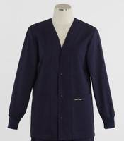 Scrub Med Womens Solid V-Neck Lab Jacket Navy