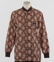 Scrub Med Womens Print Crew Neck Lab Jacket Garden Walk