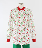 Scrub Med Womens Print Crew Neck Lab Jacket Jingle Bell