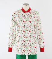 Scrub Med Womens Print Crew Neck Lab Jacket Jingle Bell