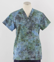 Scrub Med Womens Print V-Poc Scrub Top Aster Bloom