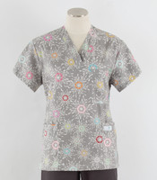 Scrub Med Womens Print V-Poc Scrub Top City Lights