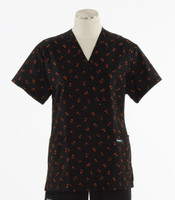 Scrub Med Womens Print V-Poc Scrub Top Pumpkin Party