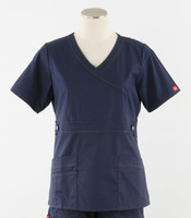 Dickies Gen Flex Womens Mock Wrap Scrub Top Navy