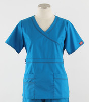 Dickies Gen Flex Womens Mock Wrap Scrub Top Riviera Blue
