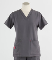 Carhartt Womens Cross-Flex V-Neck Scrub Top Pewter