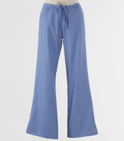Maevn Womens Fit Drawstring w/ Back Elastic Flare Leg Scrub Pant Ceil Blue - Petite