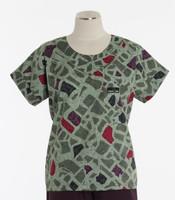 Scrub Med Womens Print Scrub Top City Blocks - Original Price: $31.00 - ALL SALES FINAL!