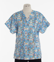 Scrub Med Womens Print V-Poc Scrub Top Cute To Boot - Original Price $33 - ALL SALES FINAL!