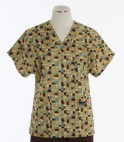 Scrub Med Womens Print V-Poc Scrub Top Mosaic - Original Price $33 - ALL SALES FINAL!