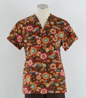 Scrub Med Womens Print V-Poc Scrub Top Flying Colors