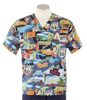 Scrub Med Mens Print V-Neck Scrub Top Route 66