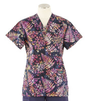 Scrub Med Womens Print V-Poc Scrub Top Nocturnal Ferns